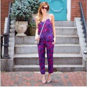 J. Crew Midnight Floral Silk Jumpsuit, Size 00